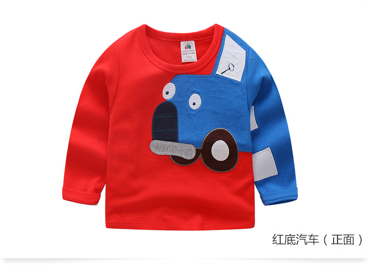 2018 Spring Autumn For 2-9 10 Years Children Cotton Striped Patchwork Cartoon Car Bus Truck Baby Kids Boys Long Sleeve T Shirts (44)