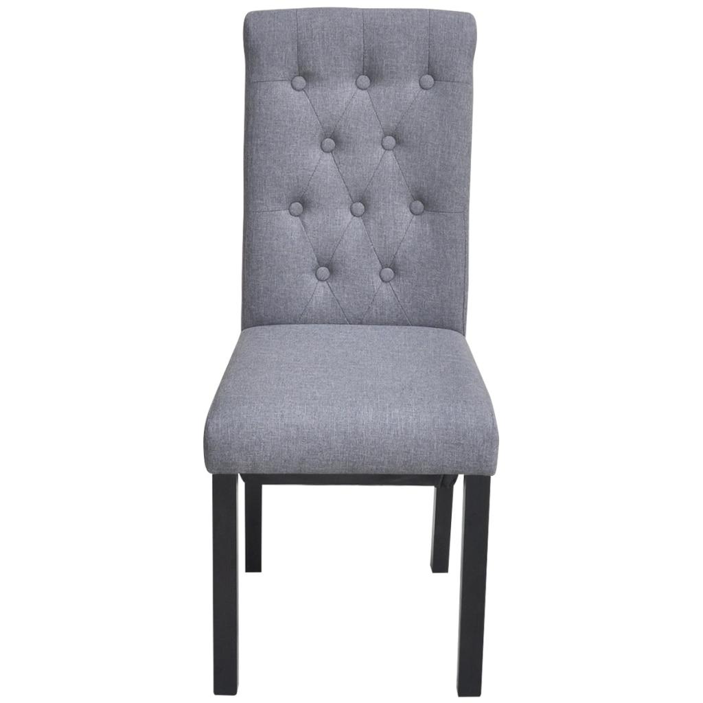 Ikayaa 2 unids Tela Gris sillas tapizadas con respaldo silla para ...