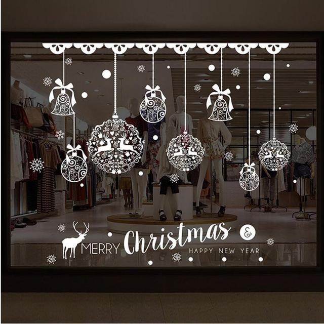 xmas christmas decoration bells window stickers winter snowflake wall stickers christmas window wall decals - Christmas Window Stickers