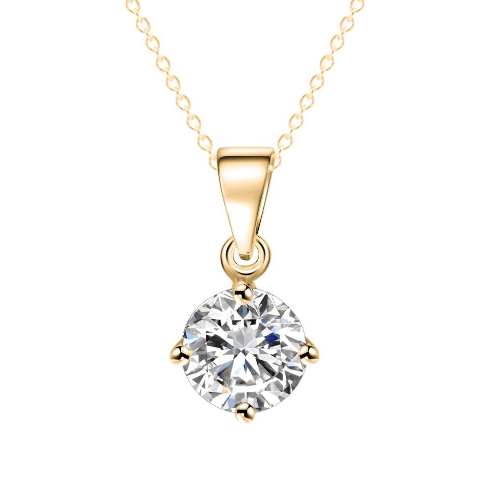 Если мне простой Модные украшения серебро и золото Цвет круглый Форма CZ кубический цирконий кулон Цепочки и ожерелья для Для женщин Свадебные украшения
