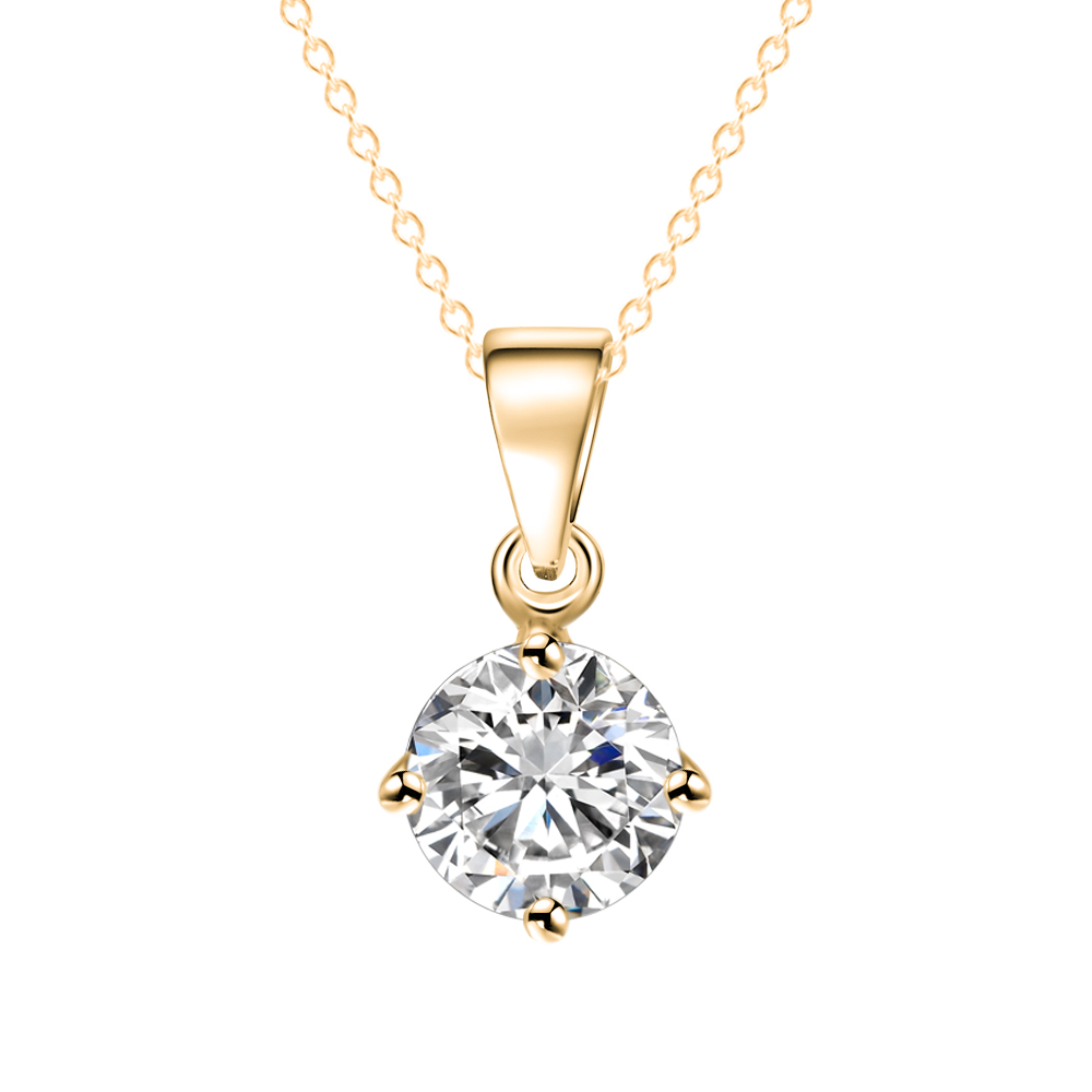 Simple Fashion Silver and Gold Color Round Shape CZ Cubic ...
