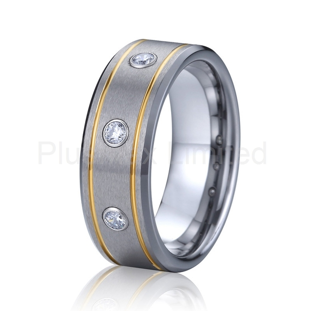 cz diamond wedding band tungsten carbide ring men jewellery gold plated jewelry designer new USA style joyas