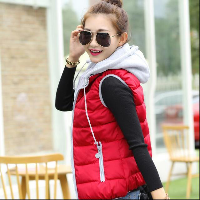 2016 women fall winter down vest fashion large size Slim thin thick wild hood shoulder down jacket warm nylon vest