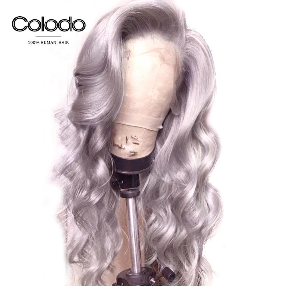 COLODO Brazilian Remy Hair Grey Colored Body Wave Wig with With Baby Hair Pre Plucked Lace