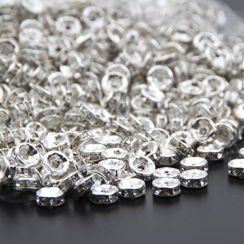 500pcs 4mm Round Metal Spacer Beads Silver Rondelle Jewellery Making