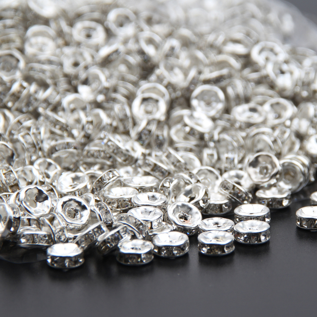 Silver Color Crystal Rhinestones Beads 6mm 8mm 10mm Rondelle Spacer Beads  500pcs pack For Bracelet Jewelry Making DIY 04cb5e012b53