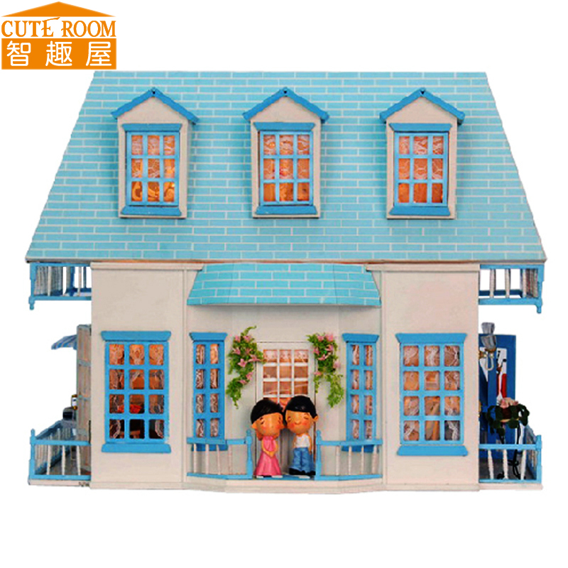 Assemble DIY Doll House Toy Wooden Miniatura Doll Houses Miniature Dollhouse toys With Furniture LED Lights Birthday Gift 1308 handmade doll house furniture miniatura diy building kits miniature dollhouse wooden toys for children birthday gift craft