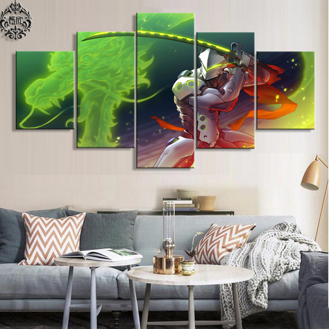 5 Panel Overwatch Genji Game Canvas Printed Painting For Living Room Wall Art Decor HD Picture Artworks Modern Poster