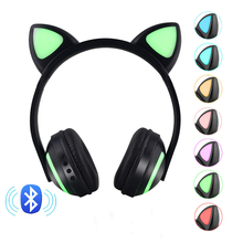 7 Colors LED light Wireless Bluetooth Earphone 3D Stereo Headphones Flashing Glowing Anime Cat Ear HIFI Sound Gaming Headset все цены