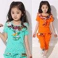 2016 meninas roupas de verão conjunto de roupas crianças terno do esporte da moda lace collar-manga curta + plantas roupa dos miúdos 4-12 T