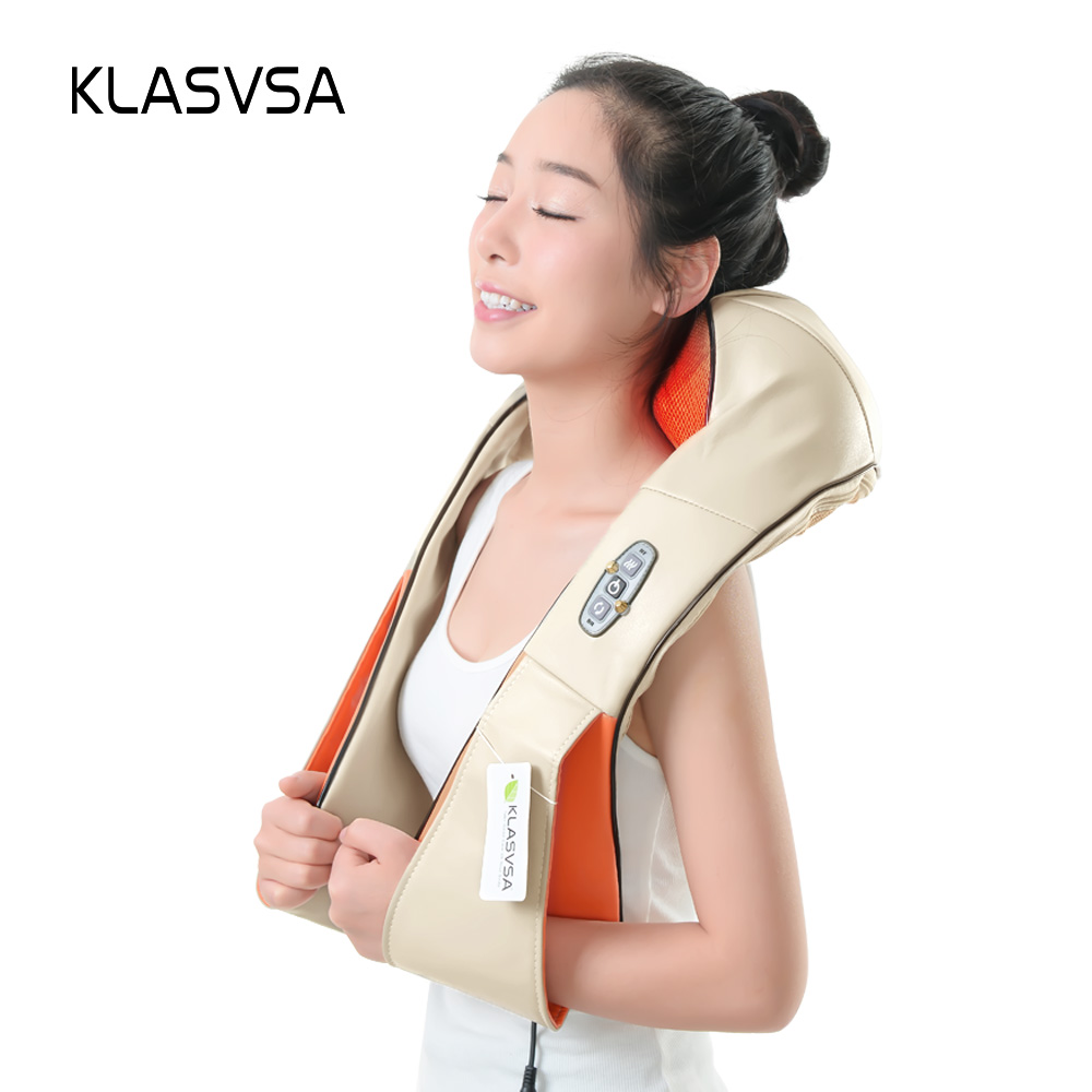 KLASVSA 12 Massage Heads Heating Neck Shoulder Kneading Massager Cervical Therapy Health Care Back Waist Pain Relief Relaxation high end health care neck cervical traction ems therapy massage collar infrared heating magnet vibration massager pain relief