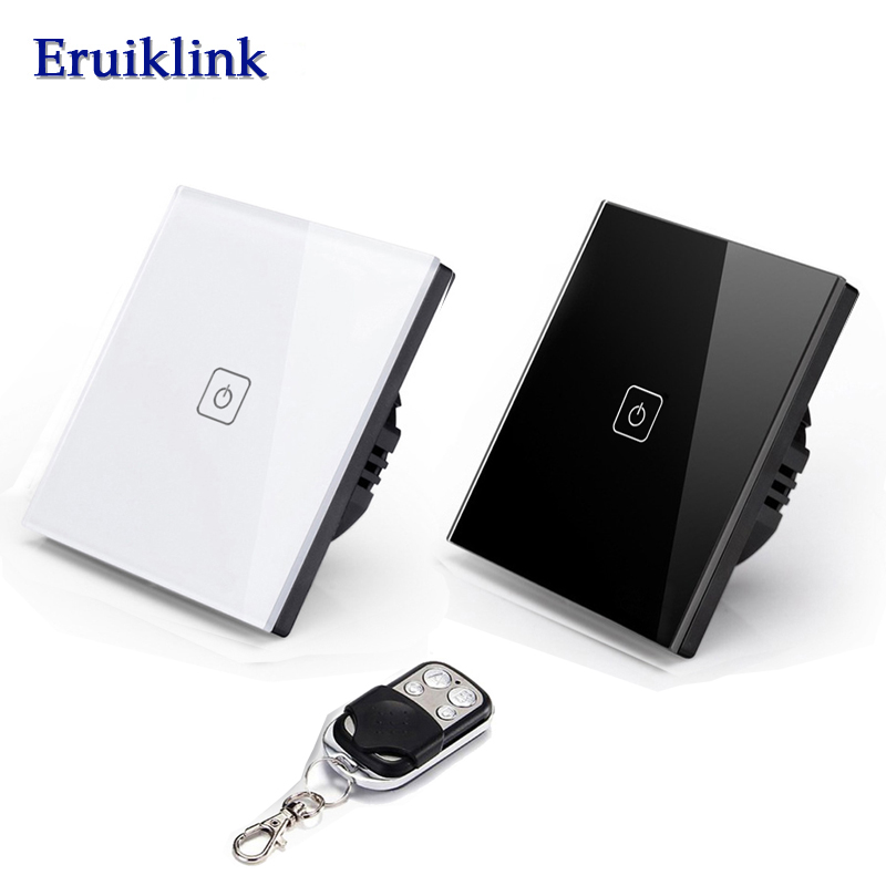 Eruiklink 1 Gang 1 Way Remote Control RF433 Smart Wall Switch, Wireless Touch Light switch EU/UK Standard For Smart Home eu uk standard funry remote control switch 1 gang 1 way rf433 smart wall switch wireless remote control touch light switch