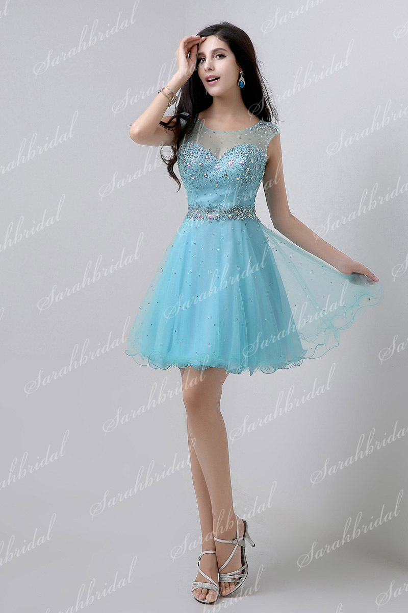 In Stock Short Mini Elegant Prom Dresses Party Gown Above Knee Tulle ...