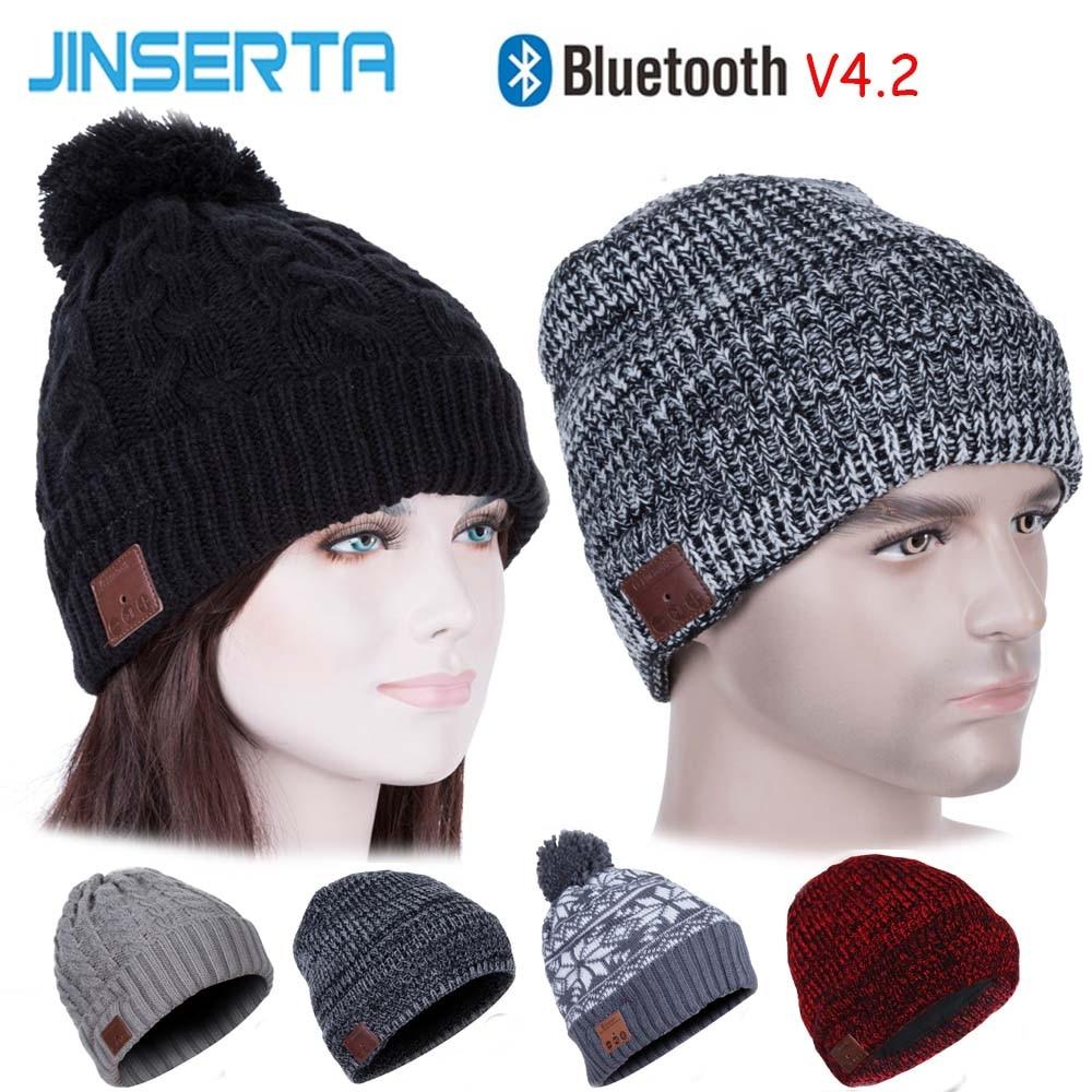 JINSERTA Wireless Bluetooth Earphone Hat Stereo Music Smart Cap BT4.2 Outdoor SportHeadset Speaker with Mic for Handsfree Call