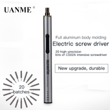 UANME CS02A Electric Screwdriver Tools with LED and 20 screw batch head for repairing mobile phones glasses computers