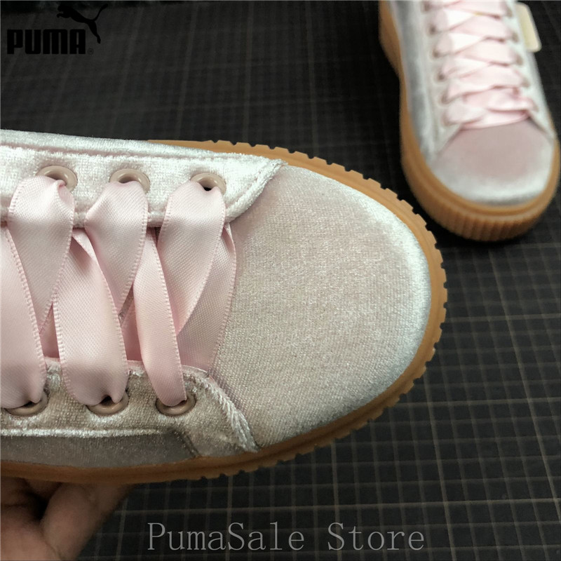 b7849b91dce Puma Basket Platform Tween JR Women s Badminton Shoes Silk Satin + ...