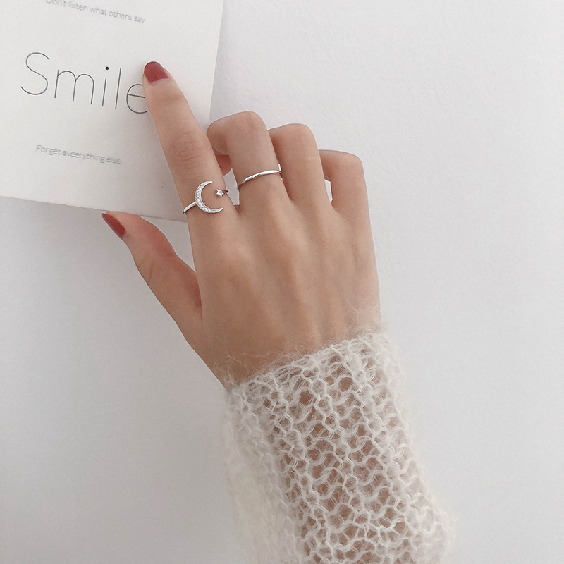 MENGJIQIAO 2019 Korean New Delicate Shiny Zircon Moon Star Open Adjustable Rings For Women Micro Pave Femme Finger Ring 2pcs/set|Rings| - AliExpress