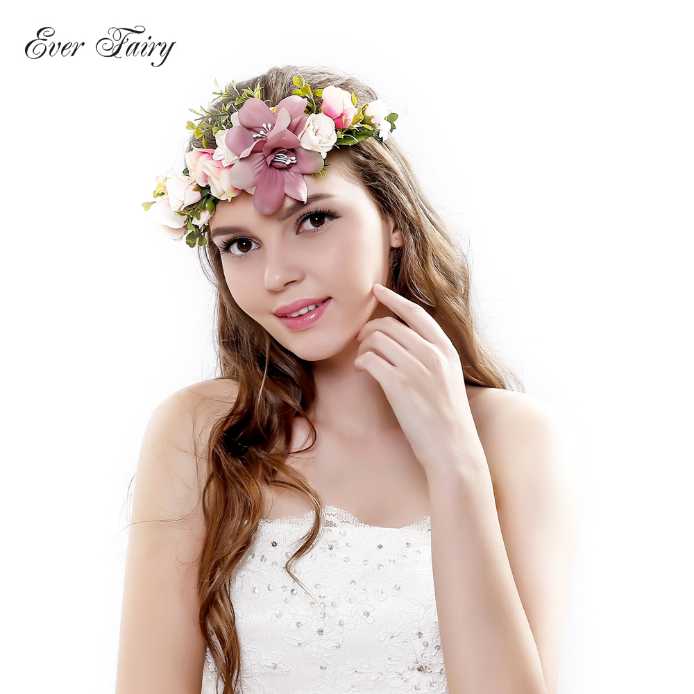 2018 bride wedding flower headband wreath hairband party flower girl ever fairy bridesmaid flower crown artificial flower head wreath for women hair accessories wedding flower headband izmirmasajfo