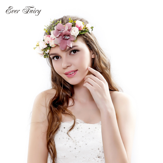EVER FAIRY Bridesmaid Flower Crown Artificial Flower Head Wreath for Women  Hair accessories Wedding Flower headband Headpiece b6dd48a622e