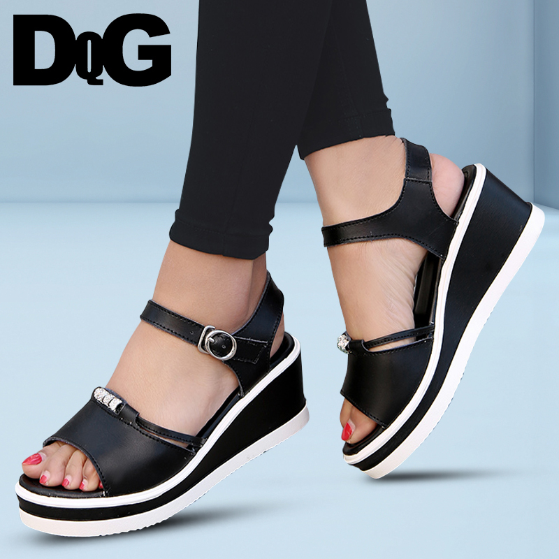 DQG 2018 Summer High Heel Women Sandals Solid Wedges Buckle PU Sandalias Casual Ankle Strap ladies Shoes ...