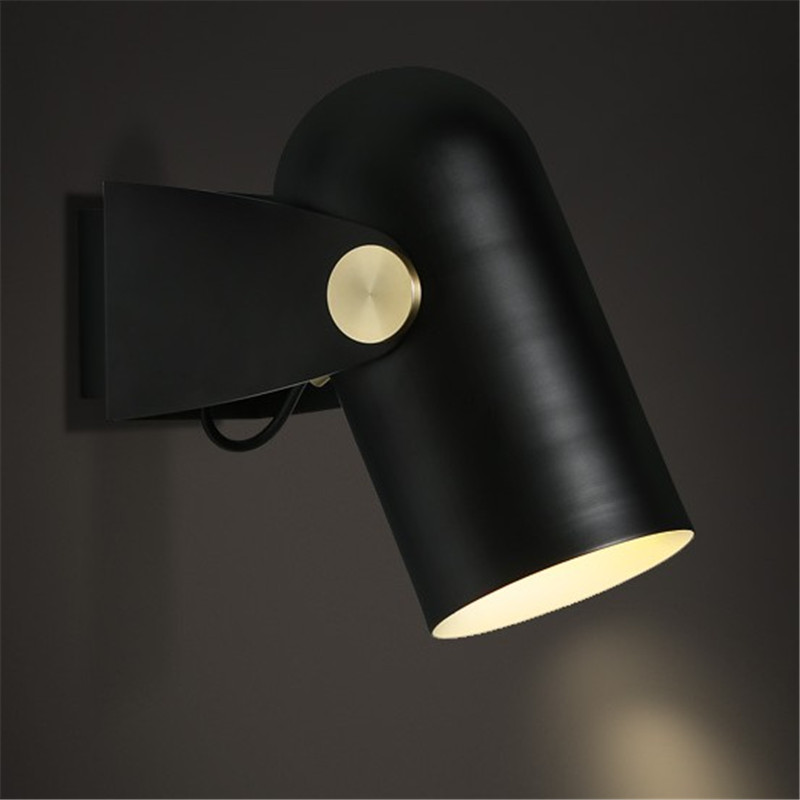 Loft Style Simple Modern LED Wall Lamp Black Iron Rotation Wall Sconce Adjust Bedside Wall Light Fixtures Indoor Lighting iwhd simple modern led wall sconce lampshade adjust iron wall light fixtures for bedroom bedside wall lamp indoor lighting