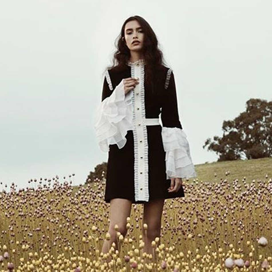 Seamyla alta calidad vestido de pasarela elegante negro blanco Patchwork celebridad Vestidos de fiesta mujeres nueva moda A Line Vestidos Mini