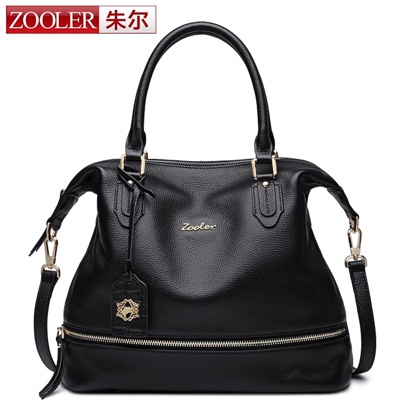 ZOOLER Women Fashion Soft Genuine Leather Handbag Female Casual Solid Boston Shoulder Bag Classic Tote Retro Hobo bolsa feminina