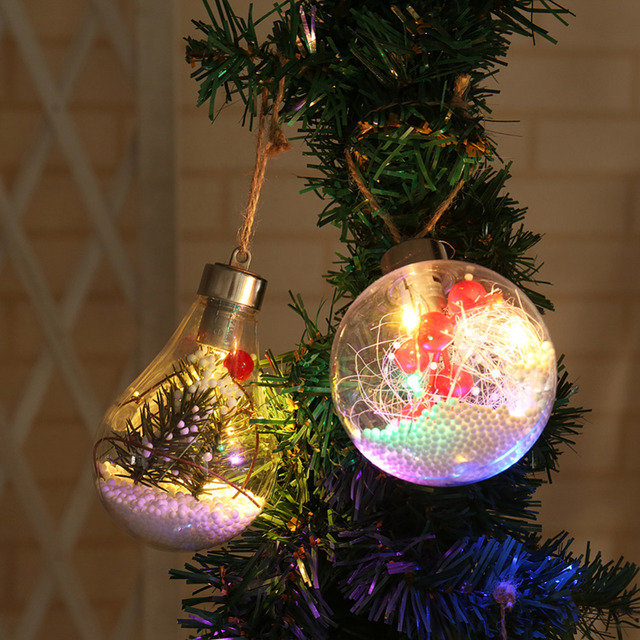 2018 christmas decorations for home led copper wire globe bulb hanging xmas tree ornaments christmas outdoor