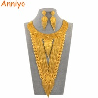Anniyo Dubai Bride Jewelry Sets for Women Arabia Saudi Arabia United Arab Emirates Middle East African Gold Color Wedding Gifts