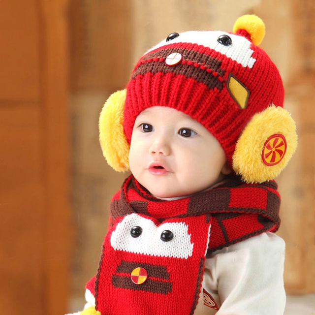 a563bf64b5e New Korean Version Bear Boys Knitted Hats Winter 2 pcs Baby Girl Scarf Hat  Set Age for 6 months-3 Years Old