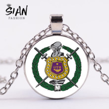SIAN Omegaa Psi Phi Fraternity Necklace Punk Chain Fraternity Symbol Greek Letters Pattern Round Necklaces Pendants Brother Gift(China)