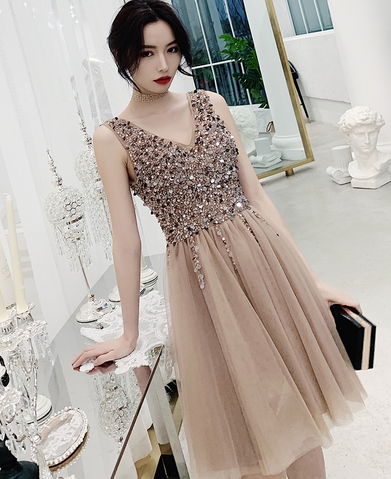 Sparkle Crystal Beaded Short   Cocktail     Dresses   Champagne Homecoming   Dress   Double V-neck Sexy Shiny Mini Prom Gowns Abiye Vestidos