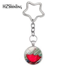 2018 Fashion Star Keyrings Umbrella in the rain Photo Custom Keychain Glass Hand Craft Silver Jewelry For a Cute Girl Bag(China)