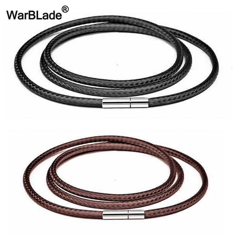 40-80cm 1-3mm Black Leather Cord Necklace Cord Wax Rope Lace Chain With Stainless Steel Rotary Clasp For DIY Necklaces Jewelry