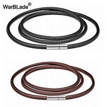 40-80cm 1-3mm Black Leather Cord Necklace Cord Wax Rope Lace Chain With Stainless Steel Rotary Clasp For DIY Necklaces Jewelry(China)
