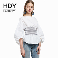 HDY Haoduoyi Apparel 2017 Summer Women Shirts Blouse Casual Solid White Lantern Sleeve Shirt Loose Brief