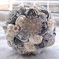 2017 Flores de La Boda Ramos de Novia Rosa Artificial Ramo de La Boda de Lujo Del Diamante de Cristal Bling de La Astilla Novias Ramo De Novia