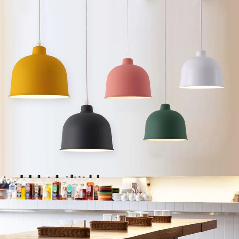 Modern Nordic colorful led Pendant Light Home foyer Hanging Lamp Metal Lampshade Bedroom Kitchen island Pendant Lighting Lamps