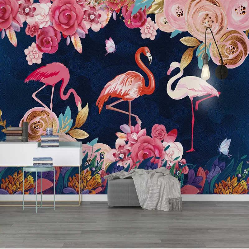 Personalizar cualquier tamaño Mural pintado a mano Planta flores flamenco 3D papel tapiz dormitorio Fondo decoración pared pintura rollo