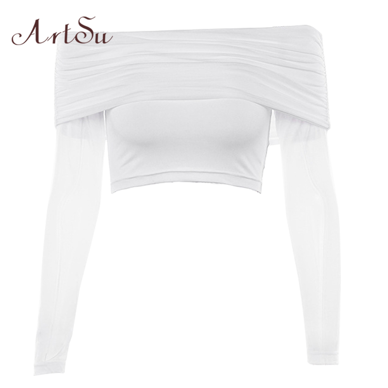 ArtSu Black White crop top long sleeve Off Shoulder Sexy Women T-shirt Tee Shirt Femme Basic Tshirt Streetwear ASTS20586