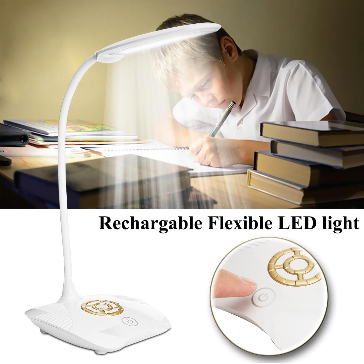 3 Brightness Flexible Rechargeable Battery Book Lamps Dimmable USB LED Night Light Bedside Desktop Reading Desk Lamp Portable