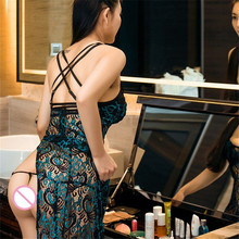 Sexy Lingerie Hot Elegant Lace Babydoll Dress With G-String Lenceria Sexy Peacock Nightgown Pajamas For Women Erotic Lingerie