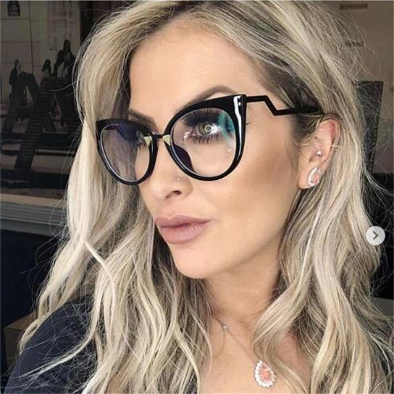 Moda gözlük gözlükler çerçeve kadınlar kedi gözü optik gözlük miyopi bilgisayar bayanlar kadın şeffaf koyu gözlükleri kadın