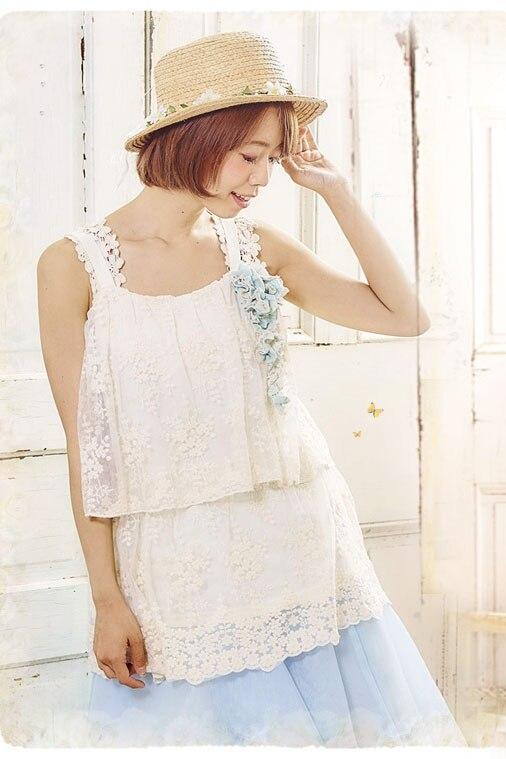 Princesse douce lolita blouse dentelle sweat doux japonais fille immortels d'été blouse dame sans manches un en vrac FG084