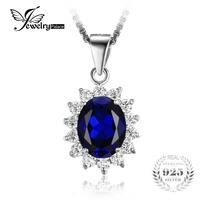 Kate Princess Diana William 2 5ct Blue Sapphire Gem Stone Wedding Pendant For Women Love Lady
