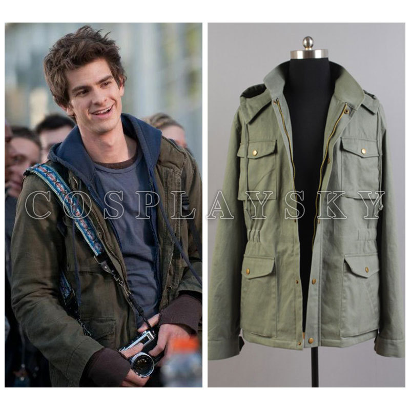 2018 Hot Style The Amazing Spider Man Peter Parker Jacket Hoodies Men Cosplay Costumes Warm Army