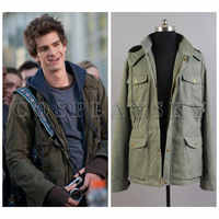 2018 Hot Style The Amazing Spider Man Peter Parker Jacket Hoodies Men Cosplay Costumes Warm Army Green Leisure Coat Mens Hoody