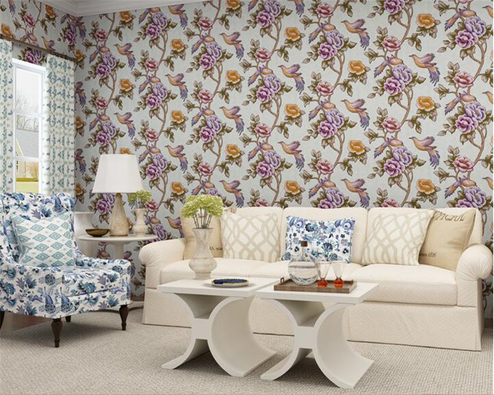 beibehang Fashion Stereo Pastoral Floral Nonwovens 3d Wallpaper Warm Living Room Sofa Background Wall paper papel de parede beibehang papel de parede pastoral environmental nonwovens wall paper warm small floral living room bedroom background wallpaper