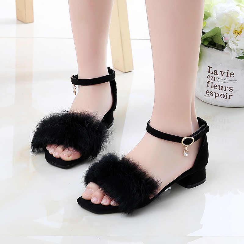 女の子サンダル夏子供ハイヒールプリンセスの靴オープントゥソフトヌバック革サンダルファッション毛深い子供たちのダンスの靴