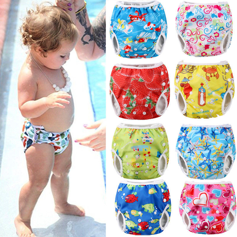 Cute Adjustable Infant Baby Cloth Diapers Summer Cartoon Swim Diaper Trunks Waterproof Swimwear Baby Clothes Accessories